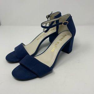 Anne Klein Camila blue suede chunky heels size 9M